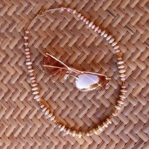 Pink Opal, Citrine, Pearl and Vermeil necklace